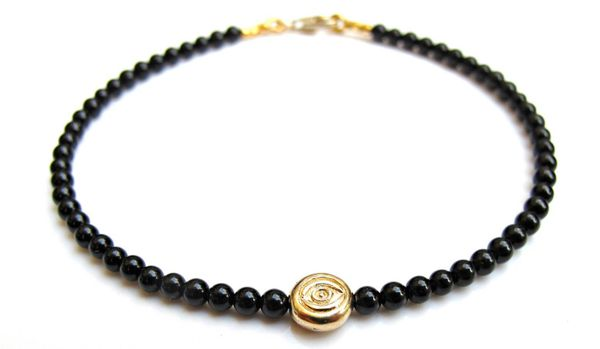 14 K solid yellow gold evil eye natural small black onyx bead bracelet natural gemstone for good luck and protection