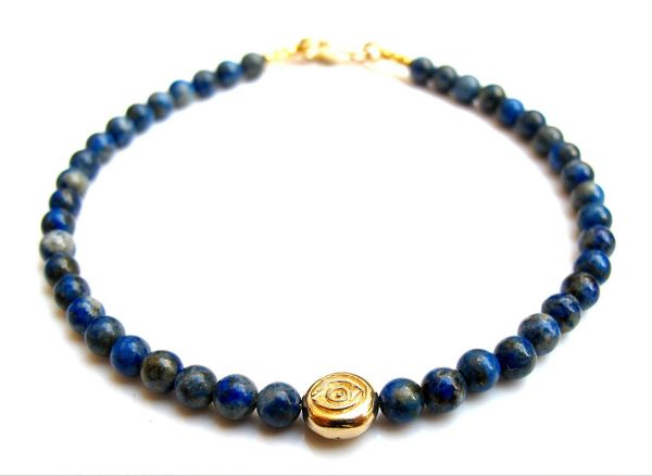 14 K solid gold evil eye amulet beads blue lapis lazuli gem bracelet hamsa luck