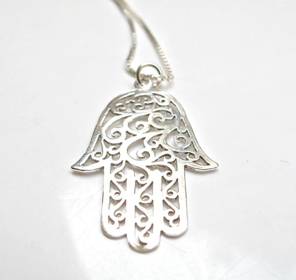 925 sterling silver large hamsa pendant necklace luck and protection jewelry