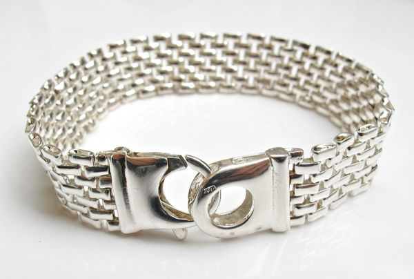 925 sterling silver flat link chain bracelet bangle luxurious cuff men women