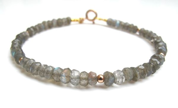 14 k solid rose gold labradorite natural gemstone bracelet beads strand bead gem