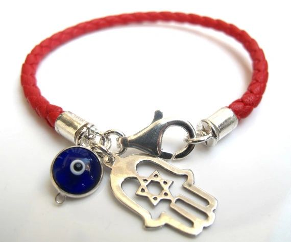 Hamsa evil eye bracelet red string sterling silver hamsa bracelet braided leather and silver blue evil eye charm star of david