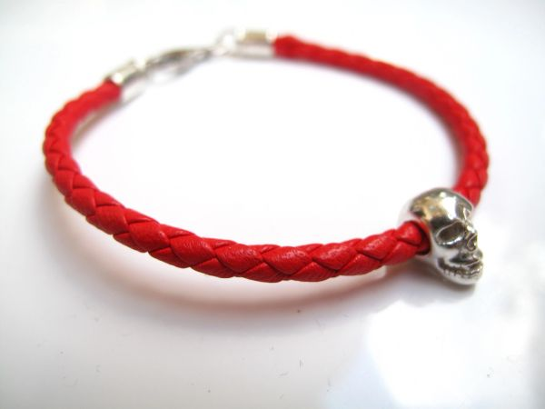 Skull 925 sterling silver bead charm red Italian braided leather bracelet solid silver skull fine bracelet