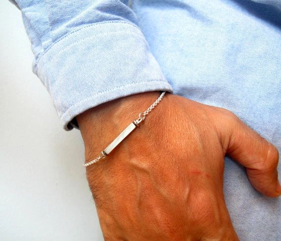925 Sterling silver rectangle name tag silver chain bracelet