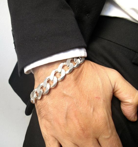 Super heavy solid 925 sterling silver link cuban gourmet bracelet masculine unisex Thick Chunky curb silver