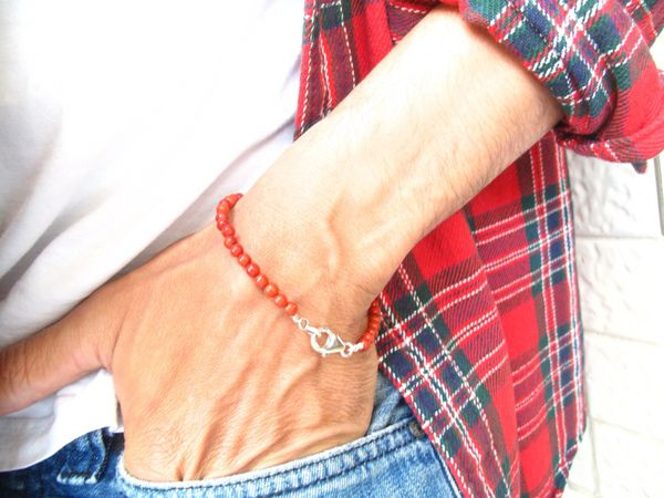 Coral Bracelet Beads Red Silver Charm Bead Bangle Handmade Beaded Natural gemstone