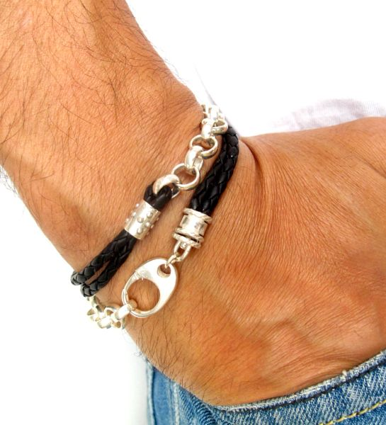 925 sterling silver chunky link chain leather bracelet classic round links heavy solid men mans women