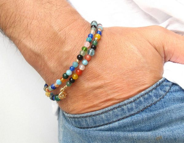 14K gold beads lapis onyx quartz gemstone multi color bracelet hamsa charm luck