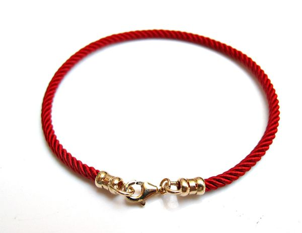 Kabbalah Red pure silk 14 k solid gold bracelet bracelet traditional authentic