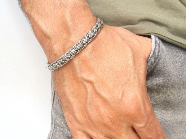 925 sterling silver handmade braided cuff bracelet