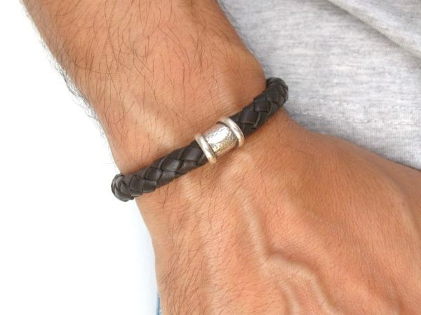 925 sterling silver chunky leather men bracelet tube