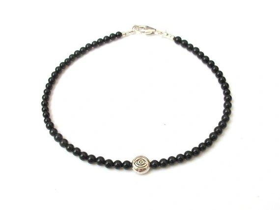 Sterling silver evil eye natural black onyx bead bracelet natural gemstone silver amulet for good luck and protection