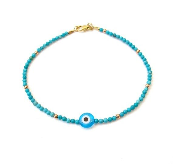 14 k gold blue turquoise evil eye beads bracelet luck amulet natural gemstone