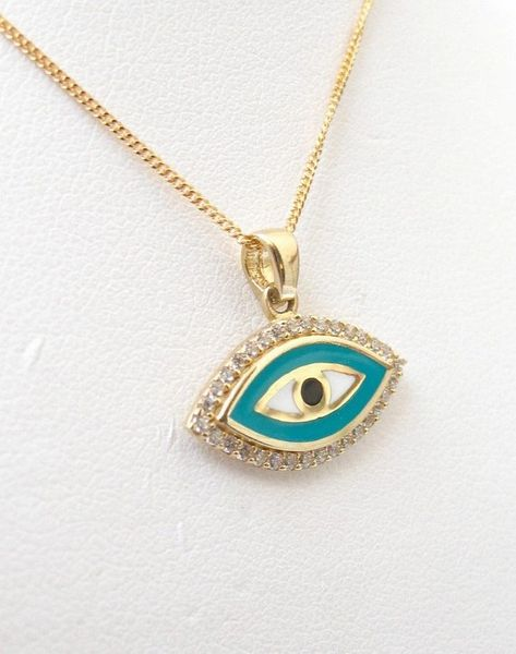 14 k solid gold blue evil eye good luck charm necklace round pendant amulet luxurious jewelry