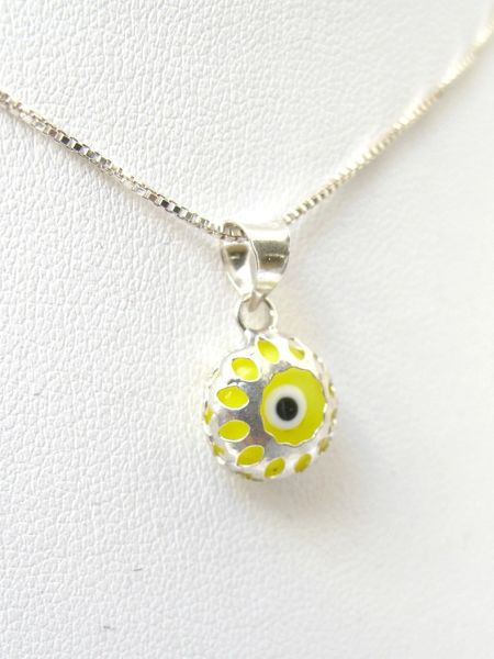 925 sterling silver lime green evil eye pendant necklace luck and protection