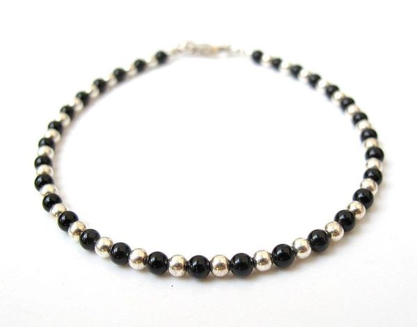 silver and onyx beads bracelet natural gemstone sterling 925 handmade