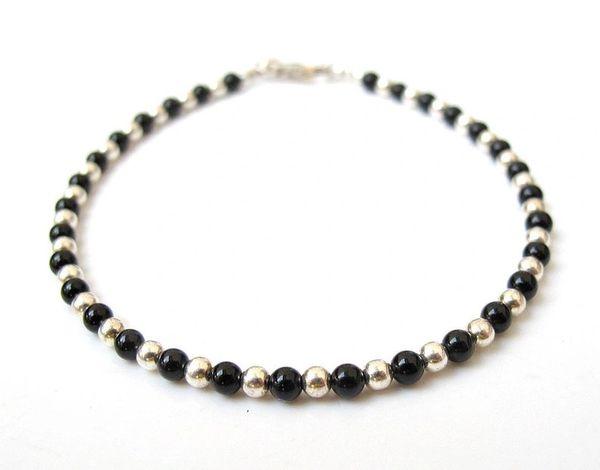silver and onyx beads bracelet natural gemstone sterling 925 handmade