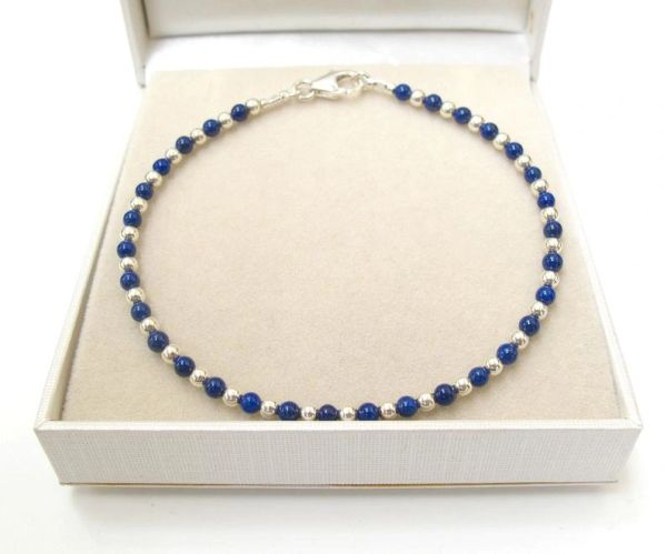 blue lapis lazuli beads bracelet natural gemstone sterling 925 handmade