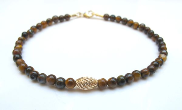 14k gold spiral bead tiger eye bracelet