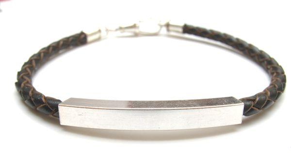 Italian braided leather and 925 sterling silver tube bracelet men classic unisex genuine 6,7,8