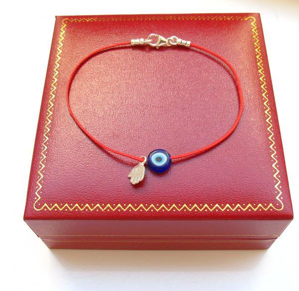 kabbaalah red string original bracelet blue evil eye hamsa silver amulet
