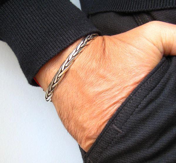 classic silver cuff handmade bracelet