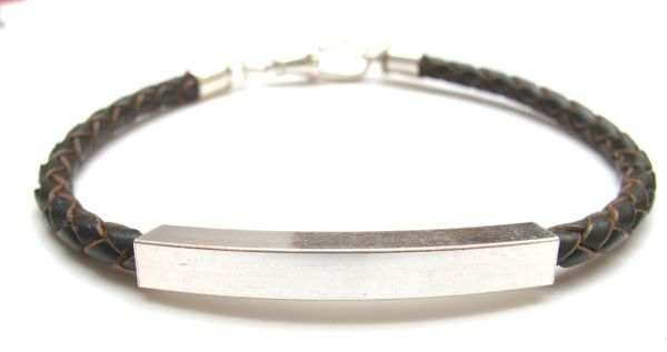 silver tube leather bracelet bangle braided