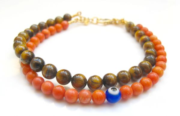 coral and tiger eye blue evil eye gemstone beads bracelet