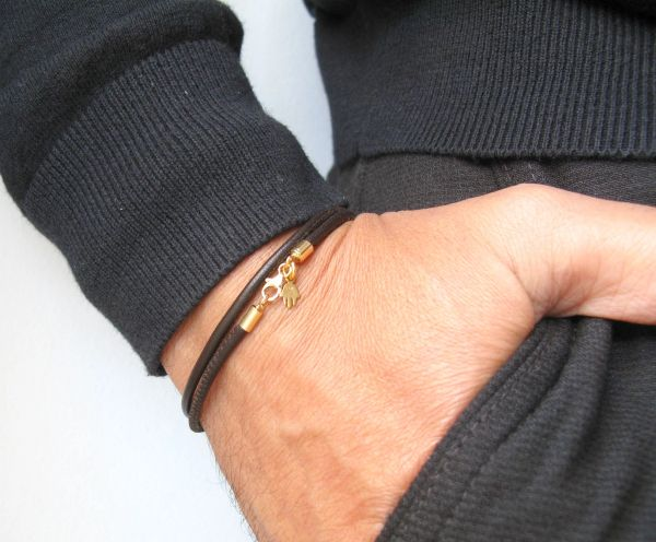 14k solid dark brown wrap leather bracelet hamsa hand luck