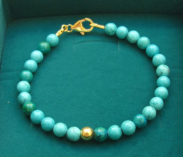 natural turquoise gemstone 14k gold bead bracelet