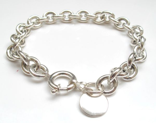 oval silver hollow chain bracelet sterling 925 handmade disc charm