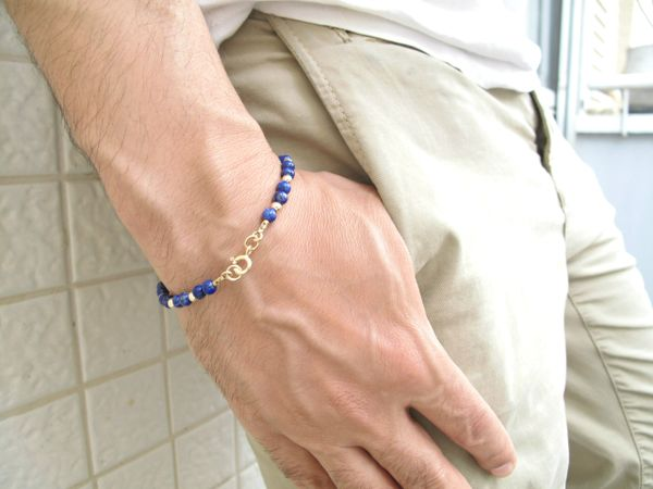 14k solid gold lapis lazuli beads bracelet blue natural gemstone solid yellow gold beads jewelry