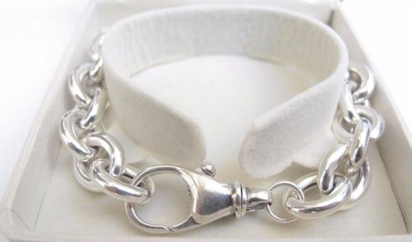 Chunky hollow chain link sterling silver bracelet
