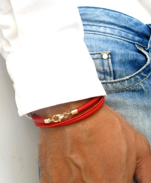 14k solid Gold Kabbalah red string leather bracelet for luck and protection