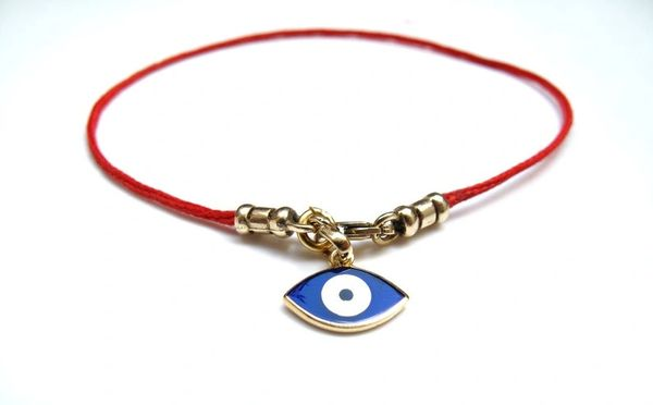 14k solid Gold Kabbalah original authentic blue evil eye Red Bracelet