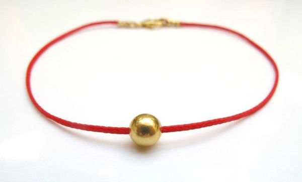 14k solid Gold bead kabbalah red cord bead bracelet luck evil eye prayer
