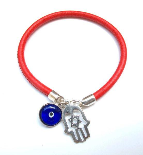 kabbalah red string hamsa blue evil eye bangle bracelet luck amulet charms