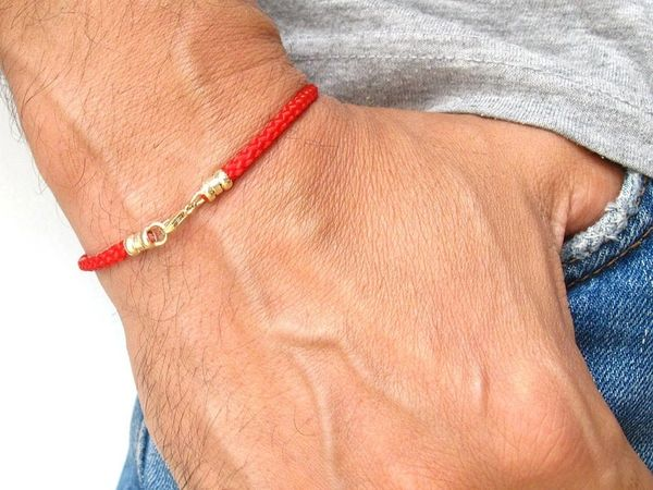 Kabbalah red pure silk 14 k solid gold bracelet good luck protection traditional authentic