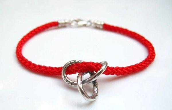 Kabbalah red string gordian knot silver blessing luck bracelet