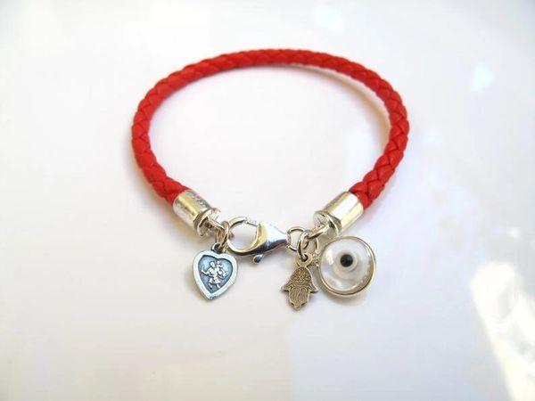 kabbalah red string star charms bracelet