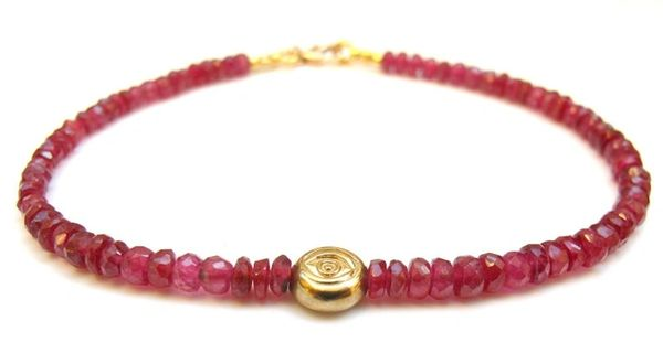 14 K solid yellow gold evil eye red ruby gemstone bead bracelet