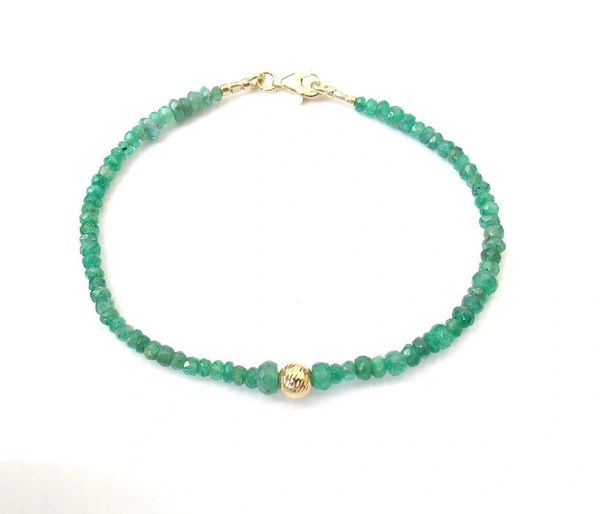 Luxurious bracelet natural green emerald beads 14k gold bracelet gemstone bracelet solid gold
