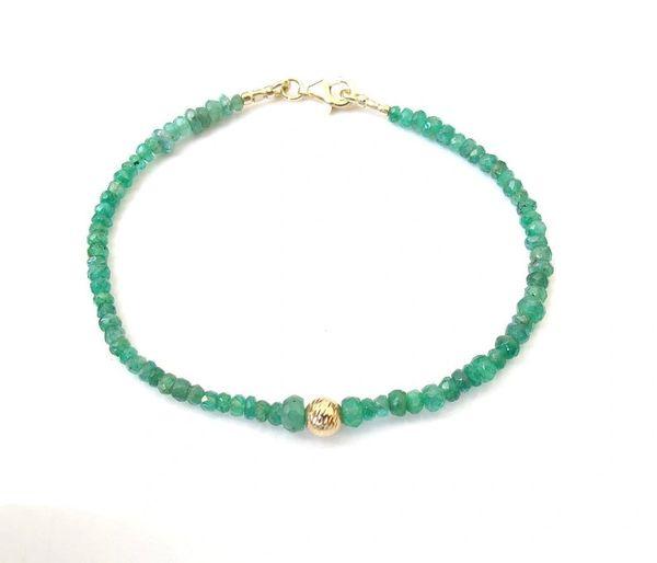 Luxurious bracelet natural green emerald beads 14k gold bracelet gemstone bracelet solid gold