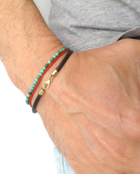14k solid gold classic black leather bangle bracelet