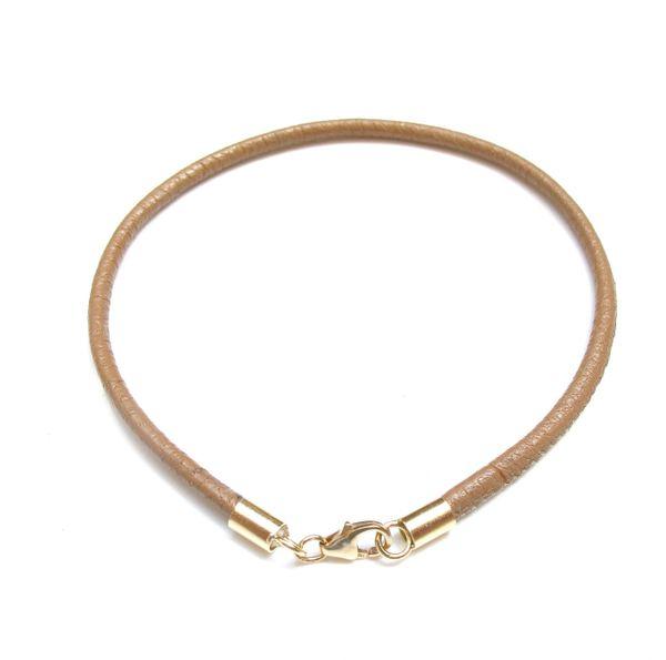 14k solid gold classic camel leather bangle bracelet