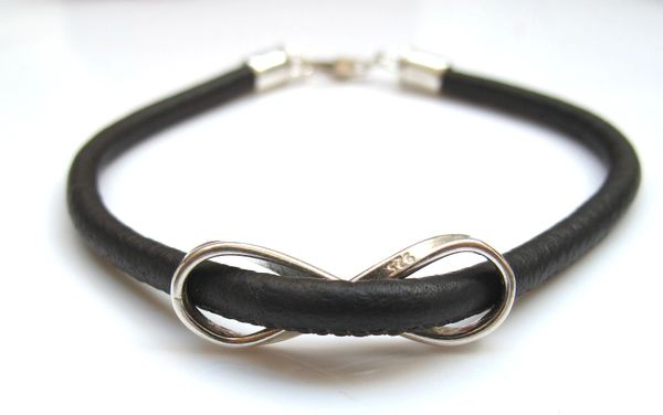 sterling silver infinity black leather cord bangle bracelet
