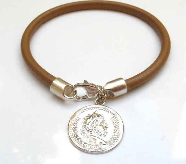 camel leather silver roman coin bracelet
