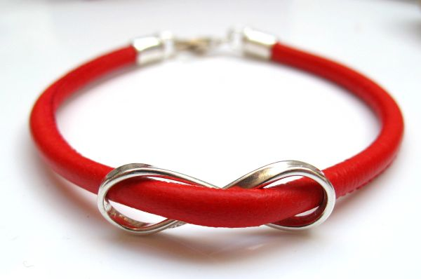 silver infinity red leather bangle bracelet
