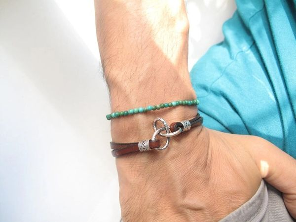 Kabbalah bracelet luck gordian knot symbol silver leather artisan jewelry