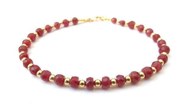 natural ruby gemstone 14 k yellow gold beads bracelet